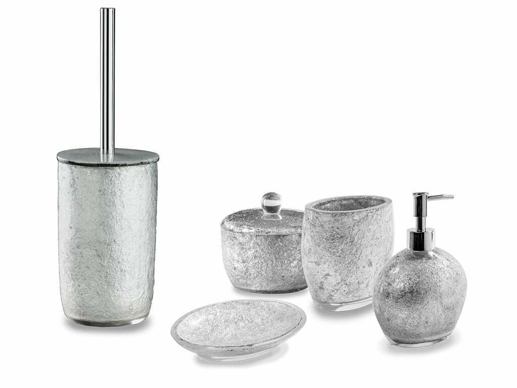 CIPI Set Silber 5 pezzi da appoggio in resina e Silber foglia accessori bagno