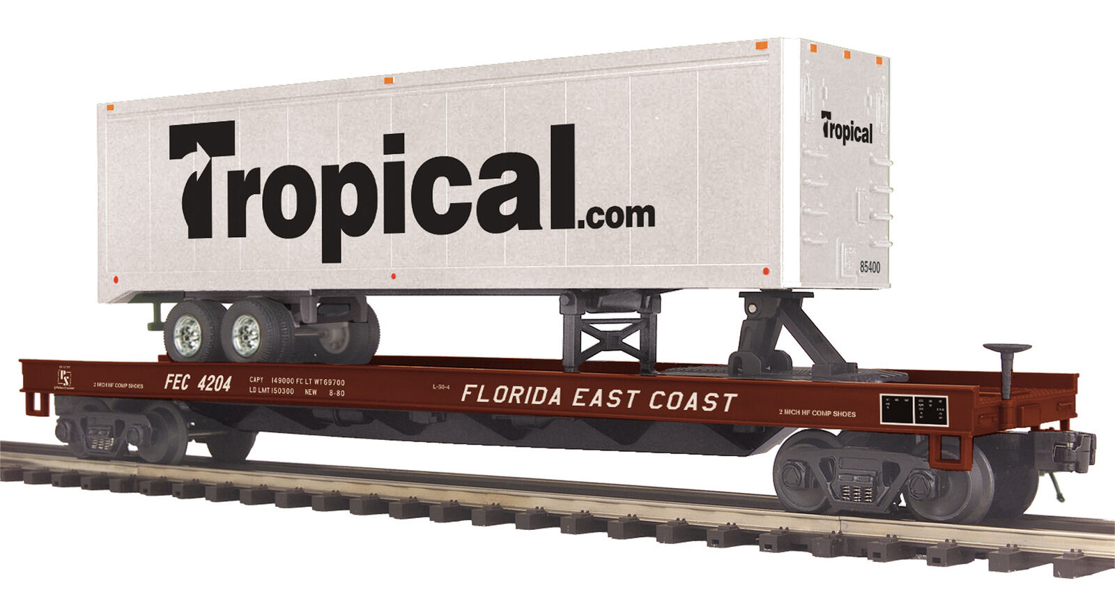 MTH Premier 4201 FEC Florida East Coast Flat Car 40' Trailer Tropical 20-95276