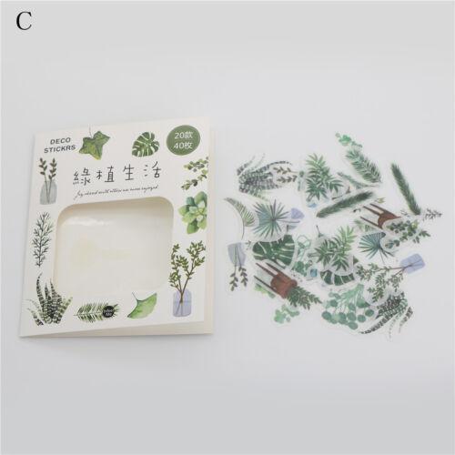 40pcs food bouquet plants text stickers decor diy diary planner scrapbooking TOC