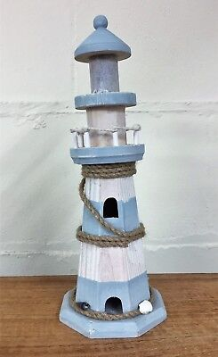 Wooden Blue & White Wooden Lighthouse Nautical Ornament - 32cm 5021