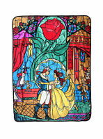 Disney Beauty And The Beast Stained Glass Movie Scene Plush Fleece Throw Blanket