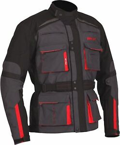 Weise-Bora-Mens-Gunmetal-Red-Textile-Armoured-Motorcycle-Jacket-New-RRP-199-99