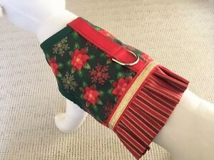 Holiday-Christmas-Poinsettia-Dog-Harness-Vest-With-Ruffle-Skirt