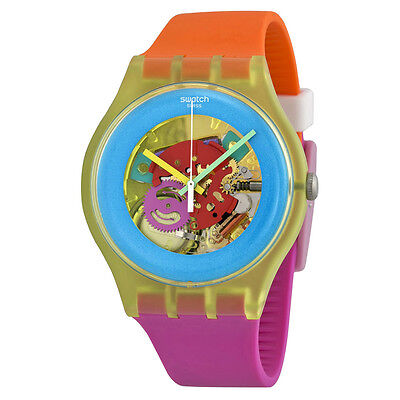 Swatch Color Palette Blue Transparent Dial Orange and Pink Silicone Unisex Watch