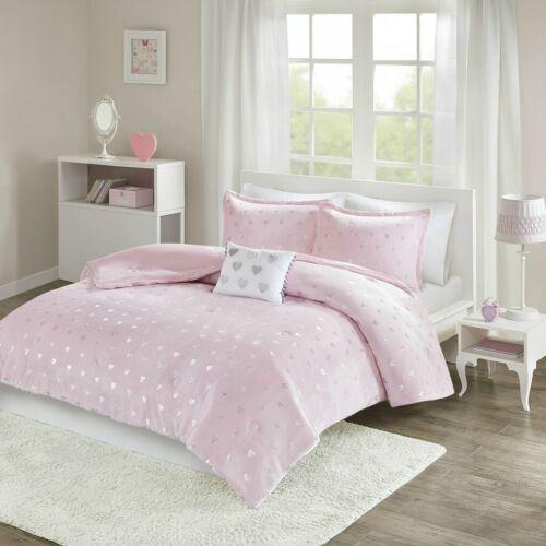 Teen Girl Pink Purple & Silver Metallic Hearts Comforter Queen Full Twin Txl set