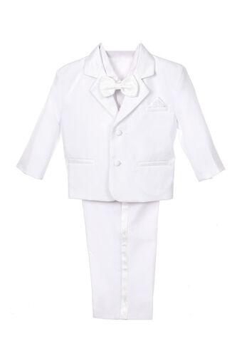 C1 BOY Formal Tuxedo w//Vest bow tie Dress Suit 5-pc Set White size S-XL 2T-20