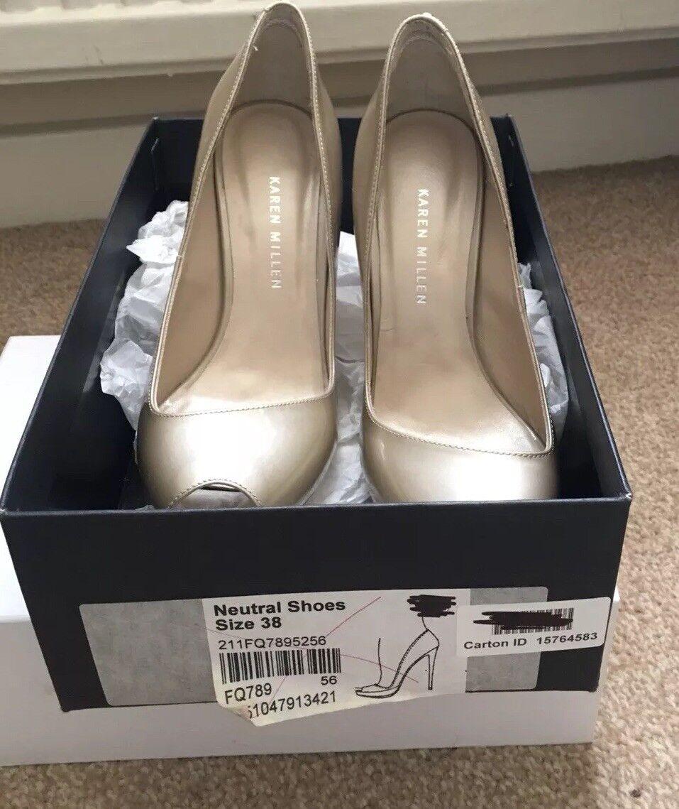 Karen Millen Ladies Beige Patent Leather Peeptoe Size 4 and 5
