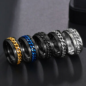Men's Anxiety Spinner Ring Stainless Steel Curb Chain Wedding Band Comfort Fit