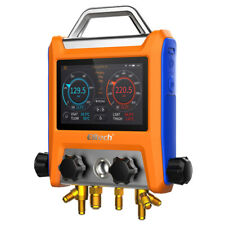 Elitech Emg 40v Intelligent Digital Manifold Kit 4 Valves Pressure Gauge Vacuum