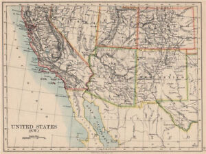 Usa South West California Arizona Casi Como Nuevo Colorado Utah Nevada Johnston 1895 Mapa Ebay