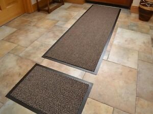 Dark Beige Non Slip Kitchen Runner Rug Amp Door Mat Set