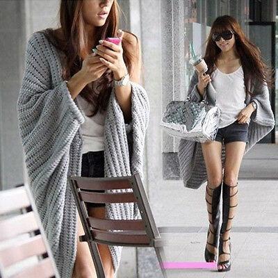 New Women Batwing Casual Loose Sweater Coat Knitting Long Cardigan Shawl Outwear