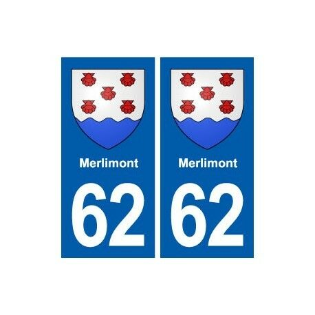 62 Merlimont blason autocollant plaque stickers ville -  Angles : droits