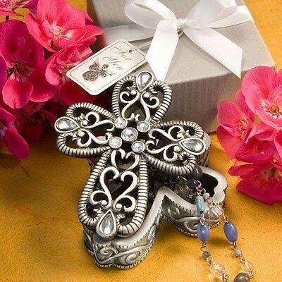 60 Silver Cross Rosary Jewelry Box Baptism Christening Gift Party