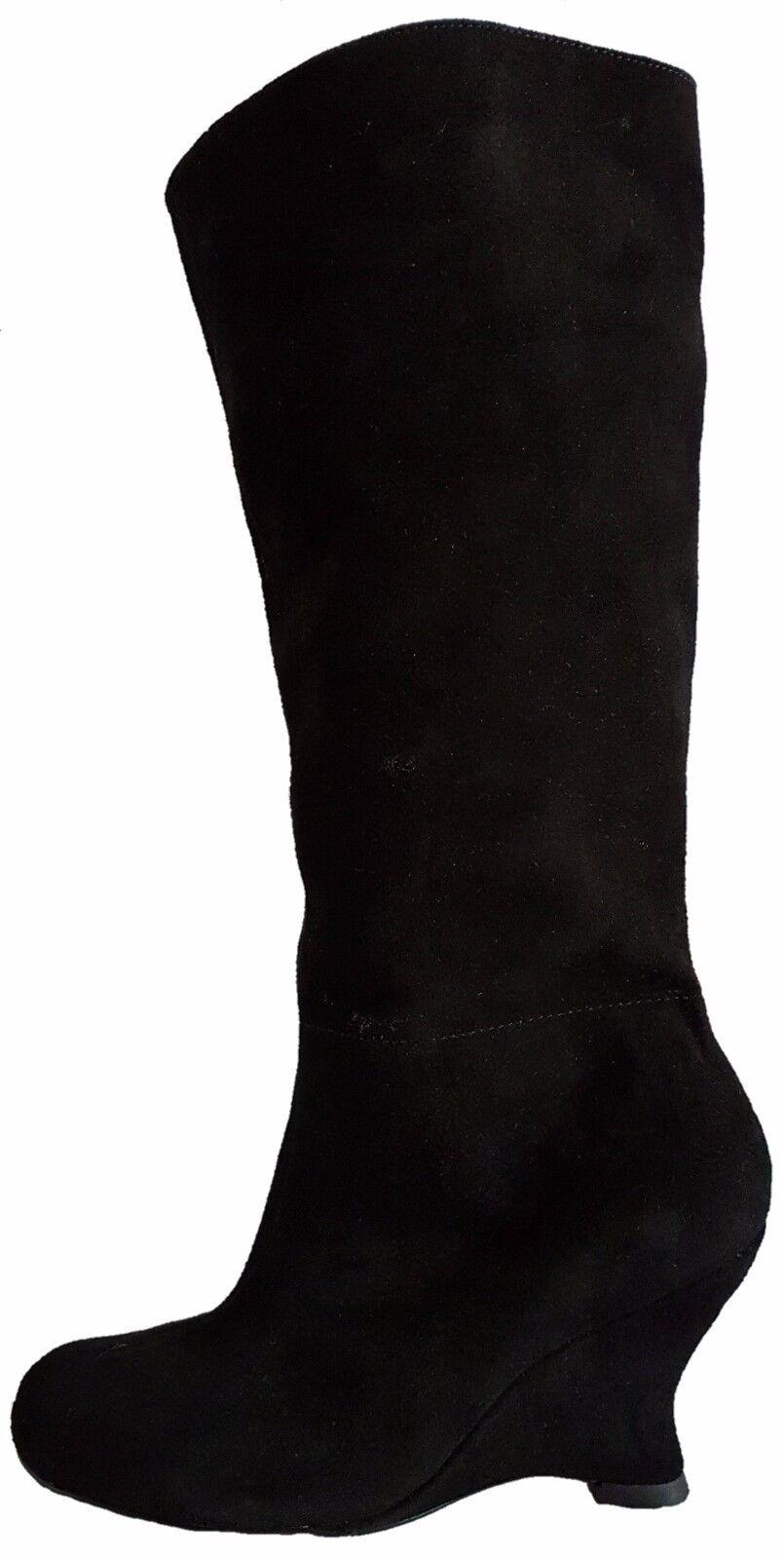 Ferruci Petite Real Suede Leather Half Zip Knee Length 8cm Wedge Heel UK Size 3