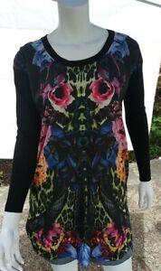 Roberto-Cavalli-Women-Long-Blouse-Mini-Dress-Floral-Long-Sleeve-knitted-back-4