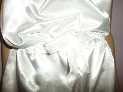 ADULT BABY SISSY WHITE  SATIN PLAY SLEEPSUIT BOWS 30-45  WAIST