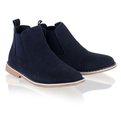 New Boys Leather Boots Kids Desert Casual Smart Ankle Chelsea Dealer Slip Shoes