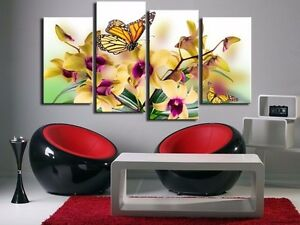 Image Is Loading 5 Panel Large Modern Flower Butterfly Canvas Print