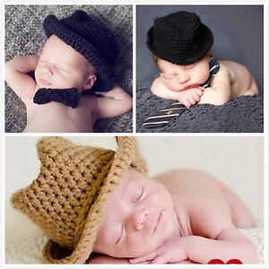 54b51374b54c Cute Baby Newborn Infant Hat Handmade Crochet Cowboy Cap Photography ...