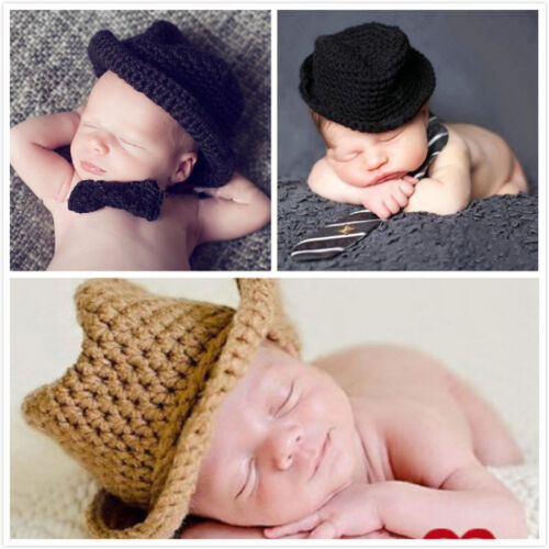 Cute Baby Infant Newborn Hat Handmade Crochet Cowboy Cap Photography Props