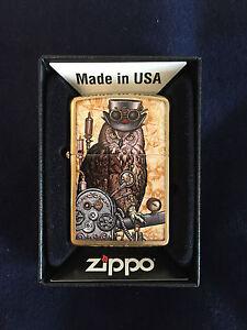 ZIPPO-Lighter-Feuerzeug-Modell-Cyberpunk-Owl-Made-in-USA