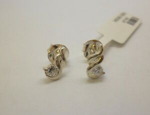 Image Is Loading Sterling Silver Synthetic Diamond Stud Earrings With A