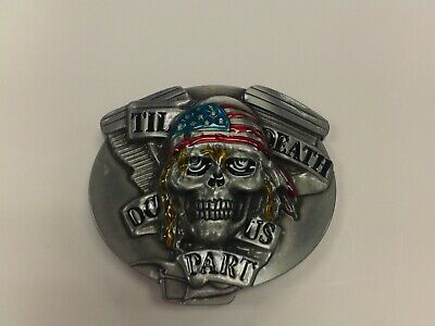 IRON CROSS WITH SKULL HEAD WEARING A BLUE HAT BELT BUCKLE PEWTER FINISH