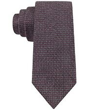 Calvin Klein Men's 100% Silk Neck Tie, Red Hot Flannels Neats, Grey Red