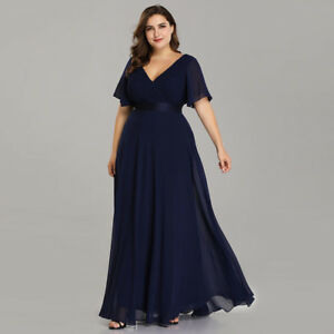 34bb2445abb Details about US Plus Size Long Formal V-neck Evening Party Dresses Navy  Blue Prom Gowns 09890