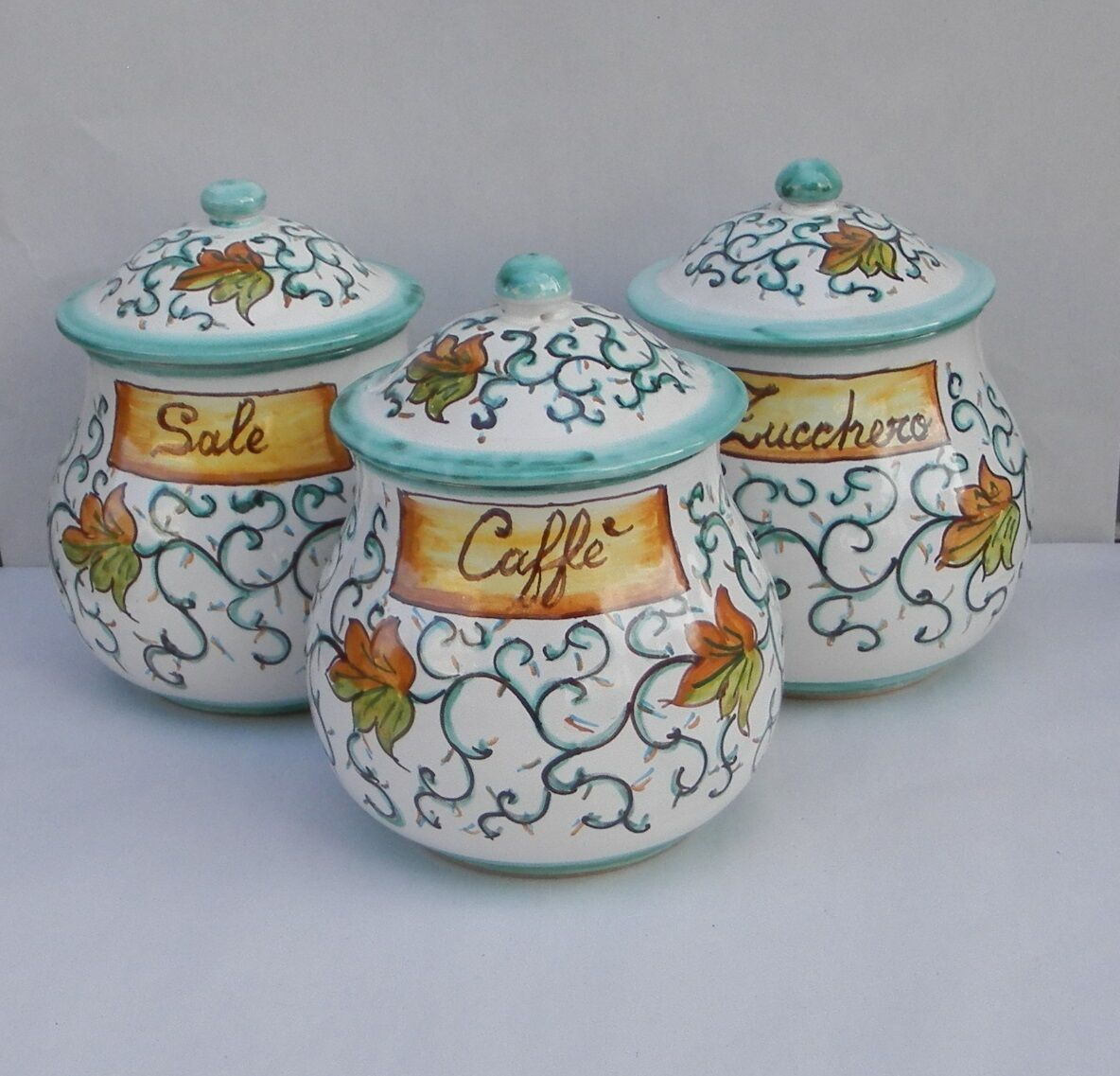 Tris Pots Convexe céramique di Vietri pour sucre,café et le sel Vert TS