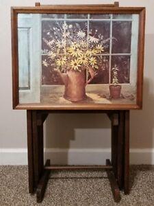 Vintage-1970-039-s-Floral-Arrangement-Wooden-Television-TV-Tray-Set-Complete