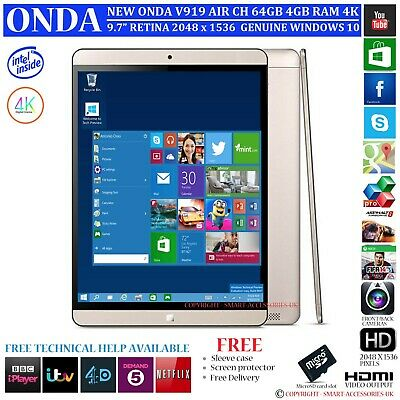 NEW ONDA V919 AIR CH 4GB RAM 64GB INTEL DUAL OS WINDOWS 10 9 7
