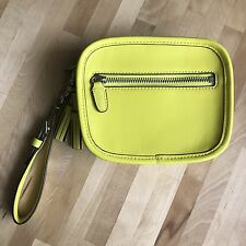 Coach Yellow Chartreuse Leather Front Top Zipper Wristlet Wallet NWOT clutch