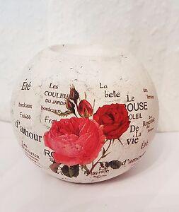 Teelichthalter-Blumen-Dekor-Kerzenhalter-rund-Deko-Rose-Geschenk