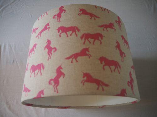 Drum Lampshade Pink Beige Unicorn design table Girls Children or ceiling
