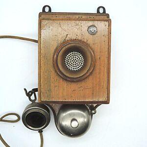 Um-1910-Siemens-amp-Halske-Telefon-Wandtelefon-Holz-unrestauriertes-Original