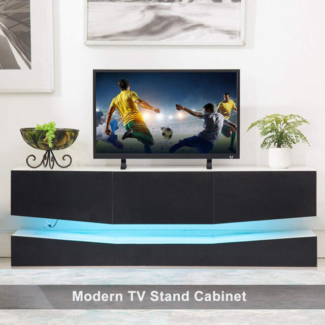 Superbe 47u0027u0027 Floating LED TV Stand Wall Mount Console Furniture W/ 3 Large Drawers  Black