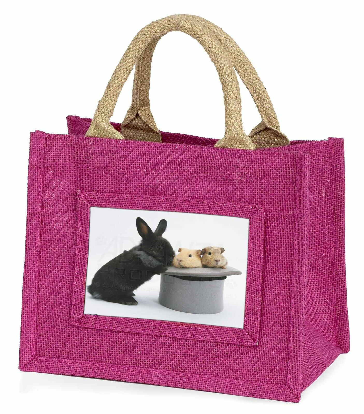 Rabbit and Guinea Pigs in Top Hat Little Girls Small Pink Shopping Bag, AR-10BMP