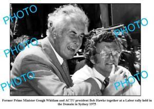 OLD-6-x-4-PHOTO-PRIME-MINISTER-GOUGH-WHITLAM-amp-BOB-HAWKE-SYDNEY-c1975