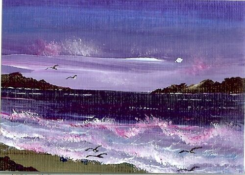 ACEO GLOSSY PRINT Rocks Shore Sunset Seascape Beach Birds Moon Art Print HYMES