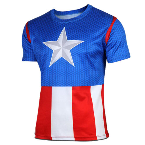Men/'s Superhero Marvel Short Sleeve T-shirt Compression Sport Gym Cycling Tops
