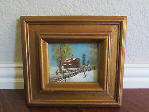 Vintage-Oil-Painting-on-Layered-Glass-Snowy-Cabin-Signed-Tela
