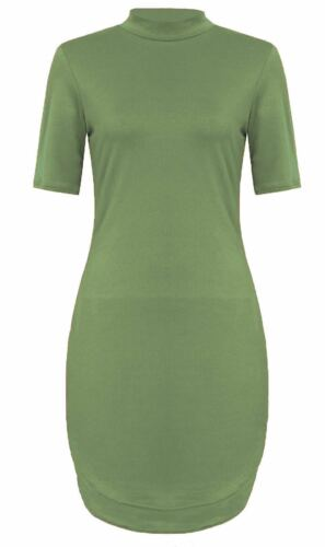 Ladies Women/'s Celebs Curve Hem Turtle Polo Neck Bodycon Mini Short Tunic Dress