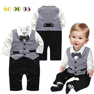 Baby Boy Party Wedding Formal Jumpsuit Gentleman Outfit Suit Clothes For 80-95CM