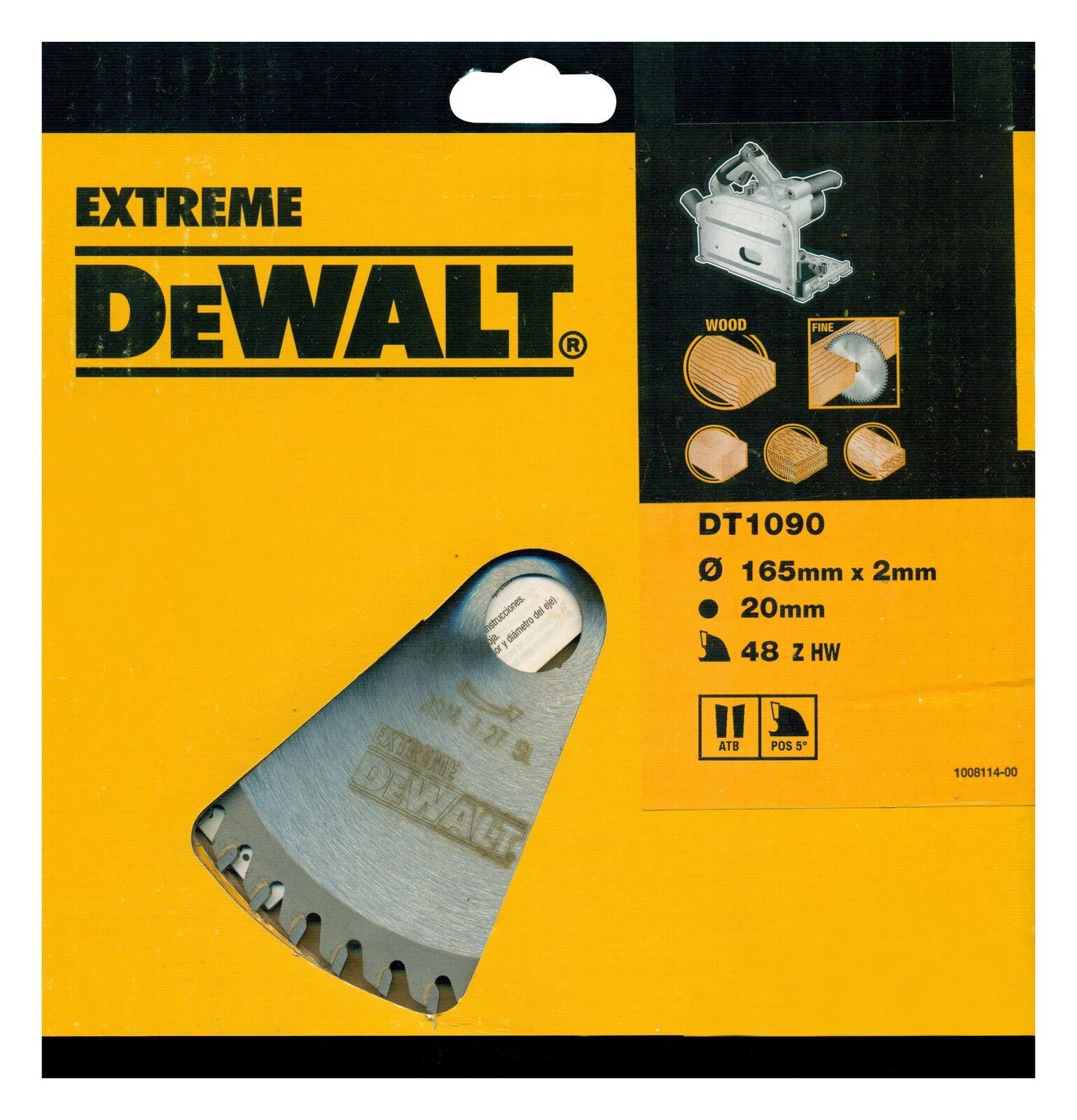 DeWalt Extreme Tauchkreissägeblatt DT1090 Holz Sägeblatt Ø165mm Kappsäge
