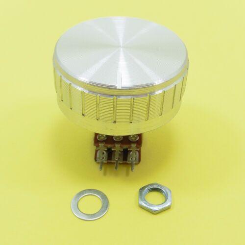 Volume Tone Control Stereo Potentiometer Linear B Ohm Lin Silver Aluminium Knob