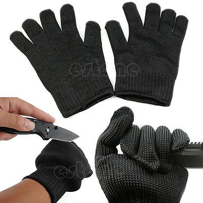 Black Stainless Steel Wire Safety Works Anti-Slash Cut Resistance Gloves