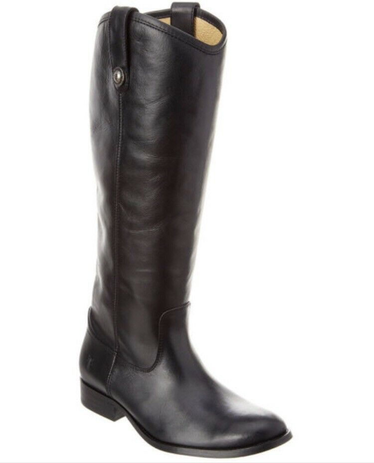 Frye Women's Women's Women's Melissa Button Lug Tall Riding Boot Black Leather 3471444 Size US 6 c0fcc8