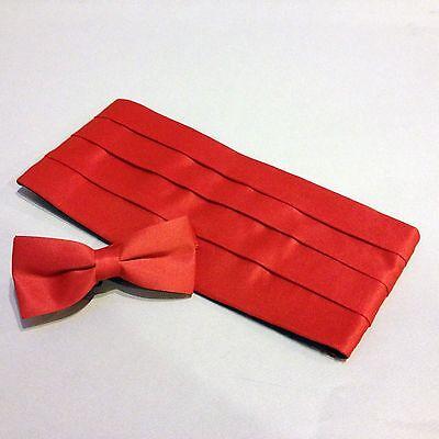 Cummerbund & Bow Tie Set, Red Satin-Look Unisex Tux Cumberbund Tie Combo, NEW